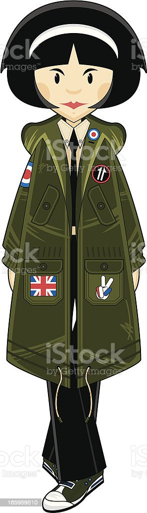 Mod Style Girl in Parka Jacket royalty-free stock vector art