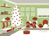 A Christmas decorated room, Mod style. Decorations are in shades of green, red and white. No gradients were used when creating this illustration.  This download includes an AI8 CMYK EPS vector file as well as a high resolution RGB JPEG file (minimum 1900 x 2800 pixels).  Click below to see similar files:  [url=/search/lightbox/2857226 t=_blank][img]http://i764.photobucket.com/albums/xx286/bortonia/banner-bortonia-interiors.jpg[/img][/url]  [url=/search/lightbox/13089300 t=_blank][img]http://i764.photobucket.com/albums/xx286/bortonia/retro-style_zpsd92717f2.jpg[/img][/url]