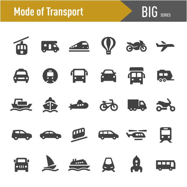ikony środka transportu - big series - przewóz stock illustrations