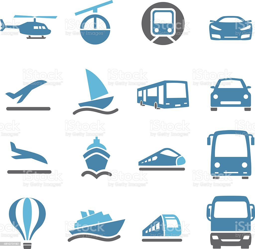 Mode of Transport Icons - Conc Series vector art illustration