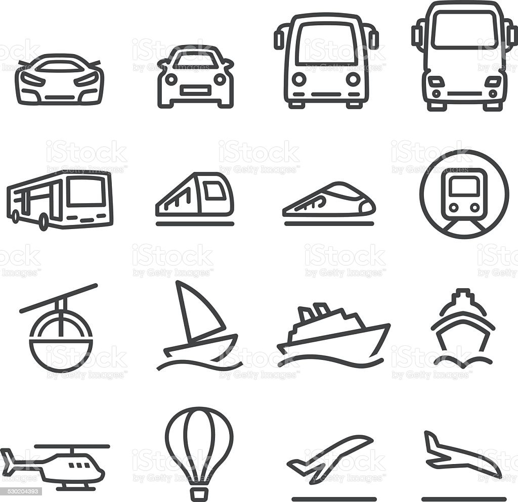 Mode of Transport Icons Set - Line Series vector art illustration