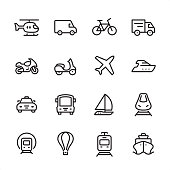 Mode of Transport - outline icon set