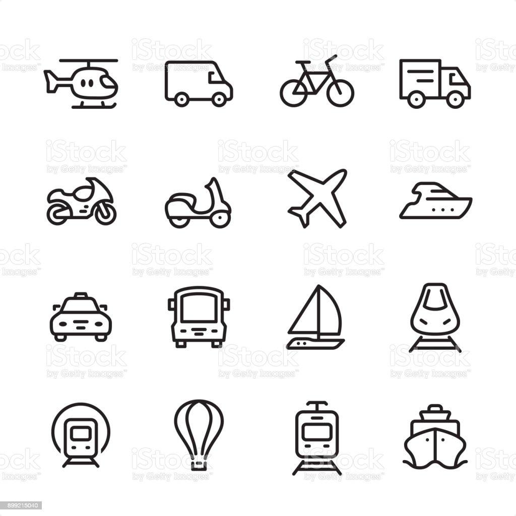 Mode of Transport - outline icon set vector art illustration