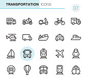 20 Outline Style - Black line - Pixel Perfect icons / Mode of Transport Set #37