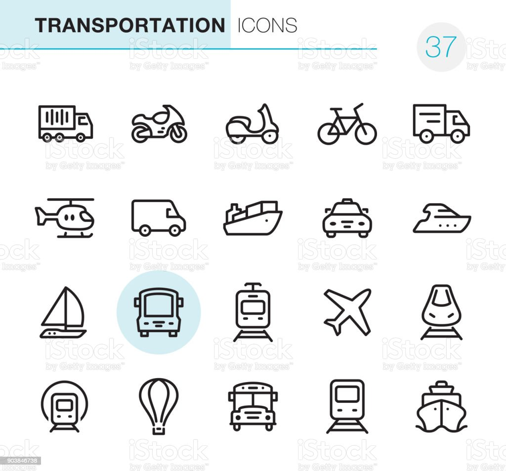 Mode of Transport - Pixel Perfect icons vector art illustration