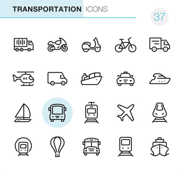 Mode of Transport - Pixel Perfect icons 20 Outline Style - Black line - Pixel Perfect icons / Mode of Transport Set #37 van vehicle stock illustrations