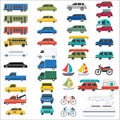 Set of transportation vehicles. Includes cars, buses, trains, trucks, tow trucks, bikes, boats, ships and airplanes.
