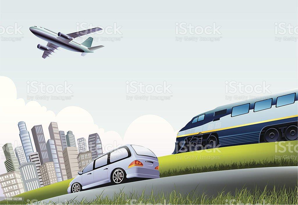 Mode of transportation vector art illustration
