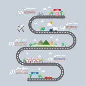 Mode of transportation with town road infographic. Vector illustration