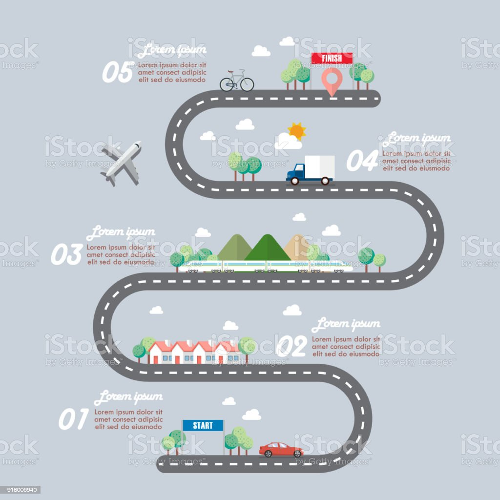 Mode of transportation with town road infographic vector art illustration