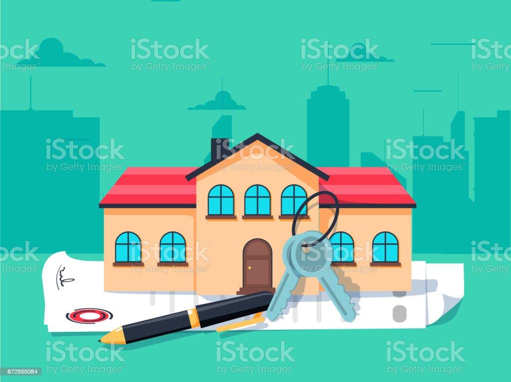 Modelo de casa, as chaves de casa e contrato: imobiliário, conceito de empréstimos e investimentos - ilustração de arte em vetor