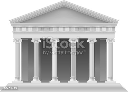 Big Portico an ancient temple. Colonnade. Illustration on white.