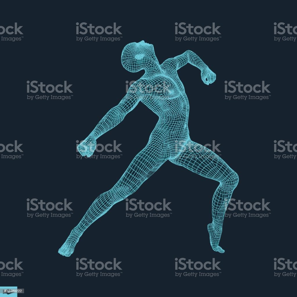 3D Model of Man. Human Body Wire Model. Design Element. Technology Vector Illustration. vector art illustration