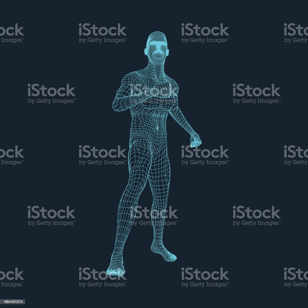 3D Model of Man. Vector Illustration. vector art illustration