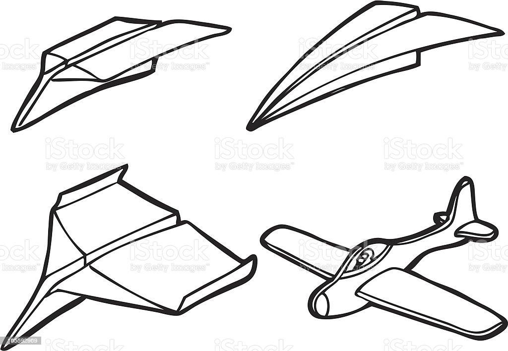 Model Plane And Paper Airplane Line Art Stock Illustration