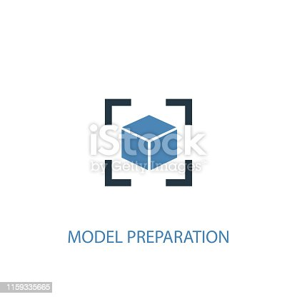 model preparation concept 2 colored icon. Simple blue element illustration. model preparation concept symbol design. Can be used for web and mobile UI/UX