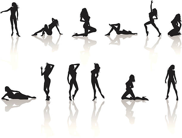 Model Silhouette Collection Silhouette Collection of sexy model in various poses. sensuality stock illustrations