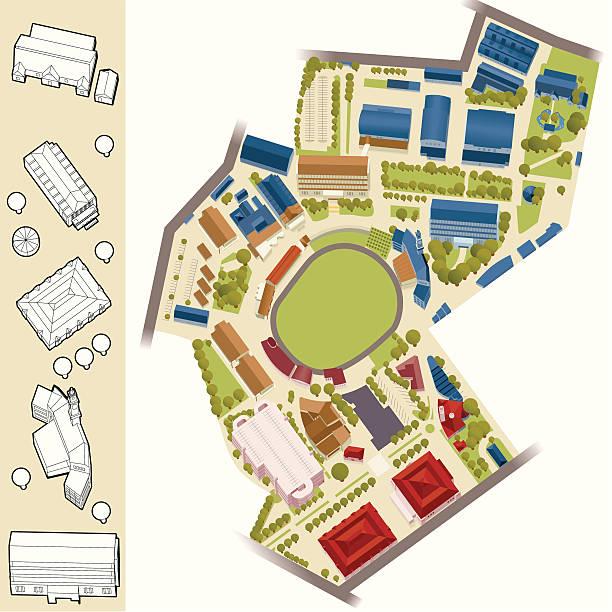 модель village-спорт арена - иллюстрации на тему архитектура stock illustrations