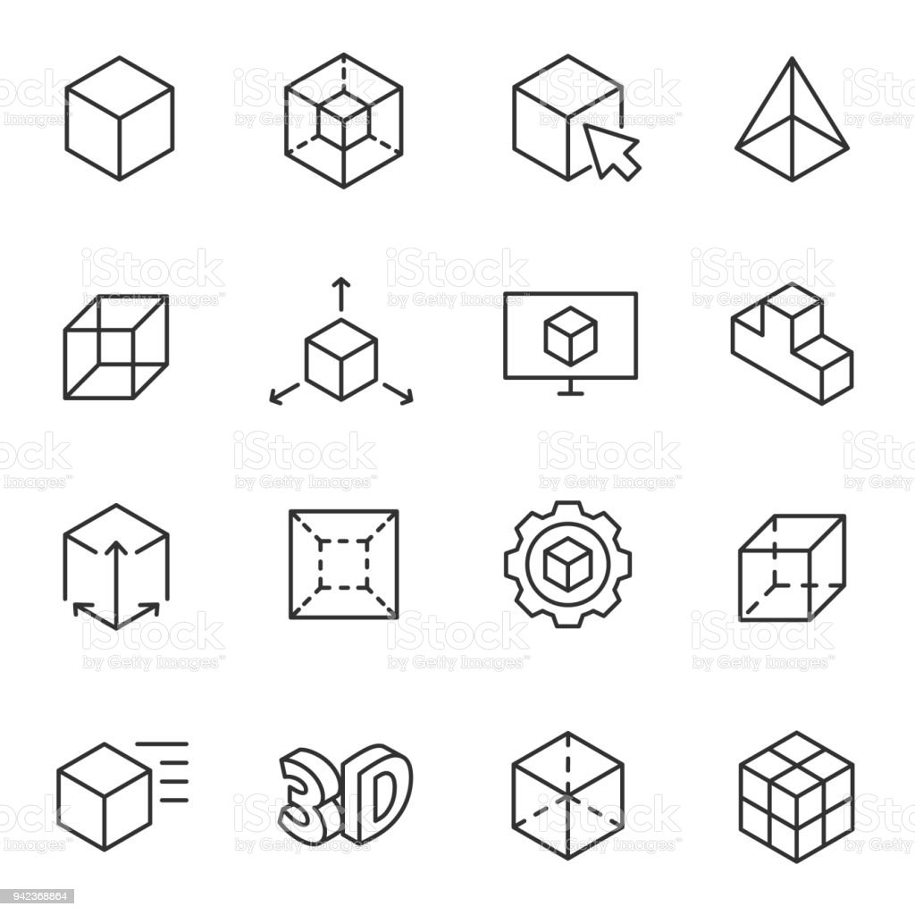3D modeling icon set, 3-dimensional model Line with Editable stroke vector art illustration