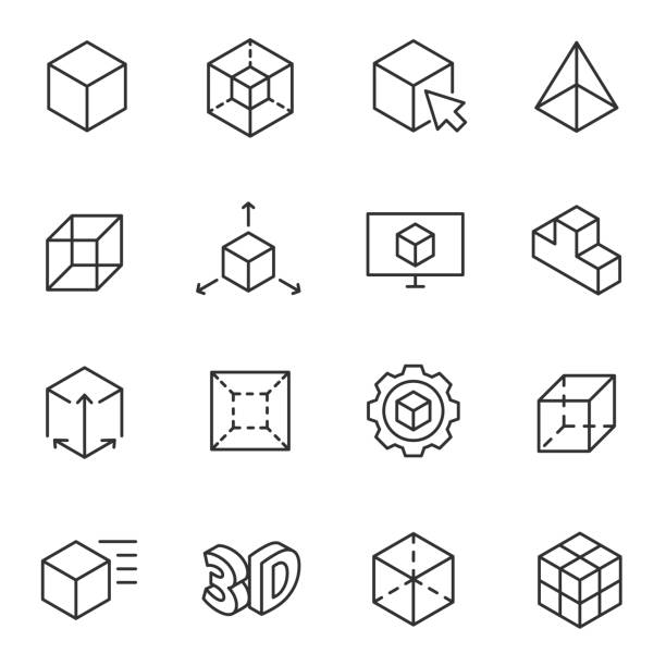 3d modeling icon set, 3-dimensional model line with editable stroke - 3d icons stock illustrations, clip art, cartoons, & icons