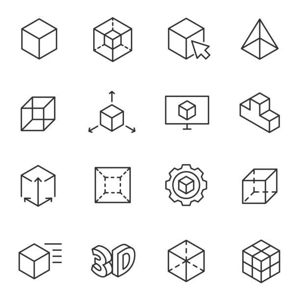 3D modeling icon set, 3-dimensional model Line with Editable stroke 3D modeling icon set, 3-dimensional model, thin line design. cube shape stock illustrations