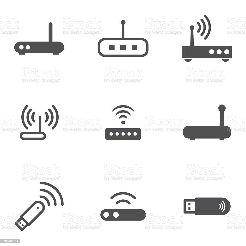 modem icons vector art illustration