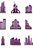 silhouettes of modern buildings