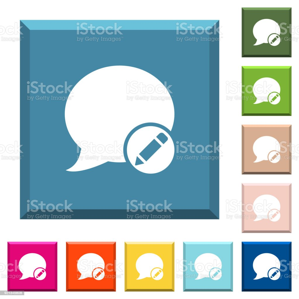 Moderate blog comment white icons on edged square buttons vector art illustration