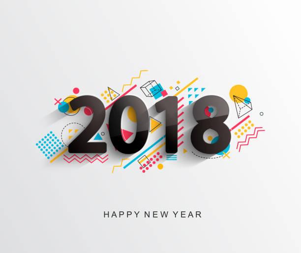 ilustraciones, imágenes clip art, dibujos animados e iconos de stock de tarjeta de diseño moderno 2018. vector. - calendario abstracto