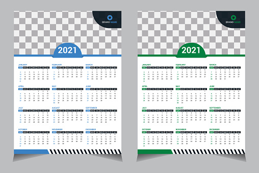 Modern 2021 Years Wall One Page Calendar, Set of 12 months. Week starts on Sunday. blue, green color white background.