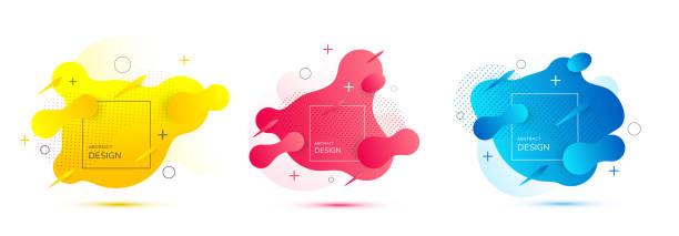 현대 3d 추상 그라데이션 모양입니다. 트렌디한 유체 디자인입니다. - 모던 양식 stock illustrations