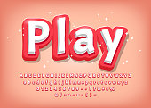 Modern 3d Alphabet, comic style title, text effect for games Vector illustration EPS10