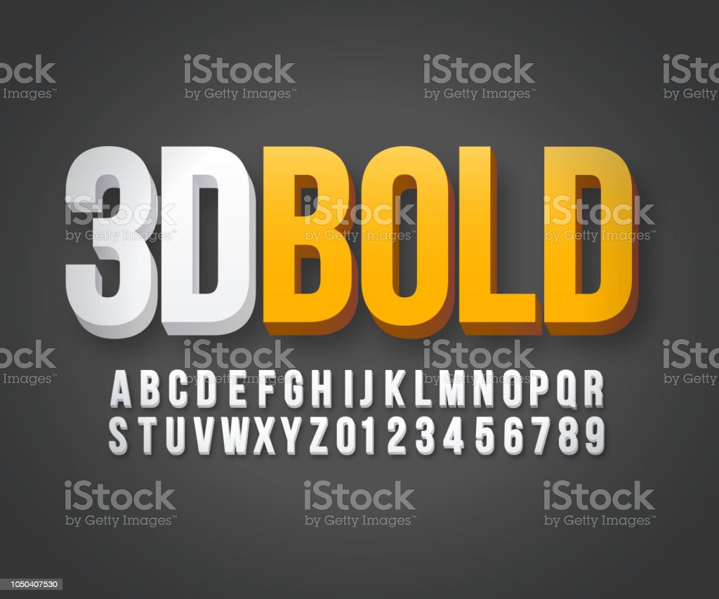 Vecteur de caractères gras 3d moderne vecteur de caractères gras 3d moderne vecteurs libres de droits et plus d'images vectorielles de a la mode libre de droits