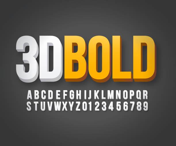 Modern 3d bold font vector Modern 3d bold font in vector format three dimensional stock illustrations