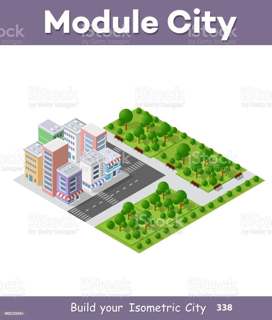 Modern 3D city isometric modern 3d city isometric - stockowe grafiki wektorowe i więcej obrazów architektura royalty-free