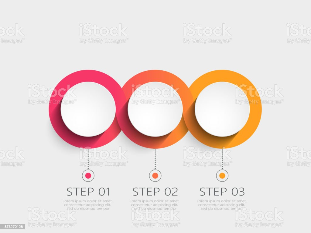 Modern 3D infographic template with 3 steps vector art illustration