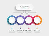 Modern 3D infographic template with 4 steps for success. Business circle template with options for brochure, diagram, workflow, timeline, web design. Vector EPS 10