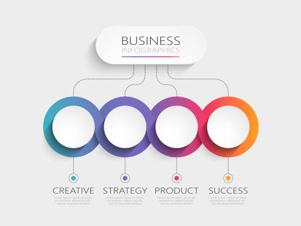 modern 3d infographic template with 4 steps for success - infographics stock illustrations, clip art, cartoons, & icons
