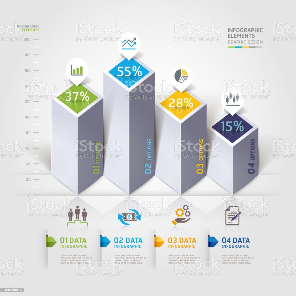 Moderne 3d-Infografiken Optionen. – Vektorgrafik