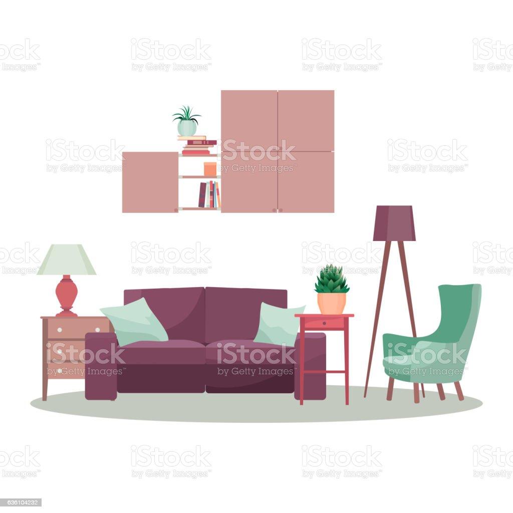 Modern 3d Interior Design Concept Illustration Vector Living Room
