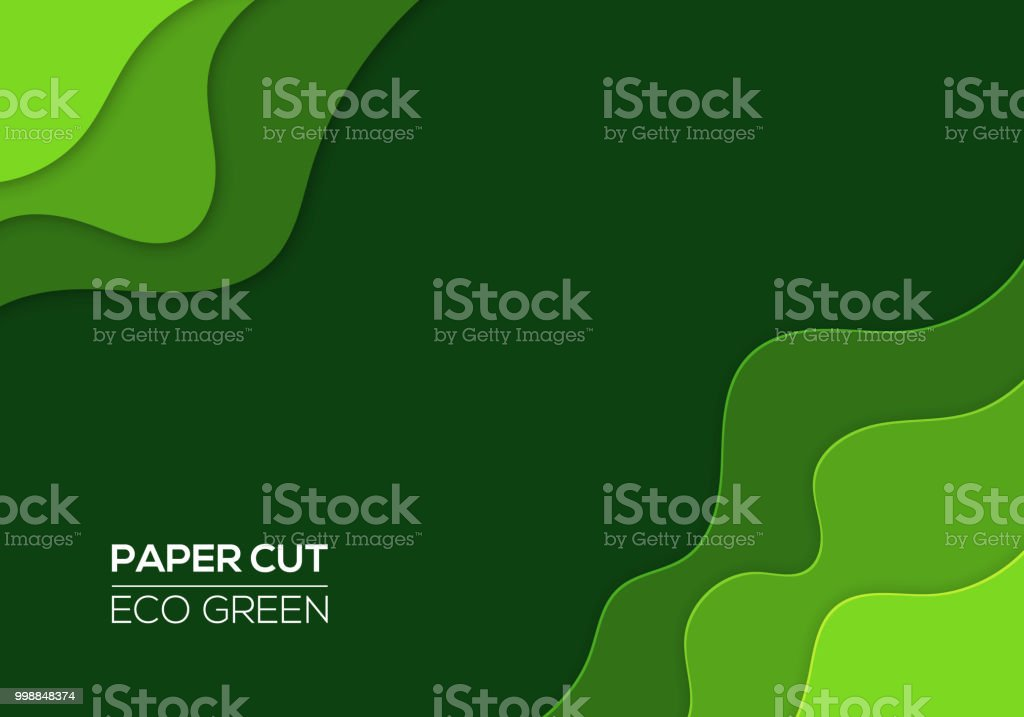 Modern 3d Paper Cut Art Template With Abstract Curve Shapes Green Color Royalty Free