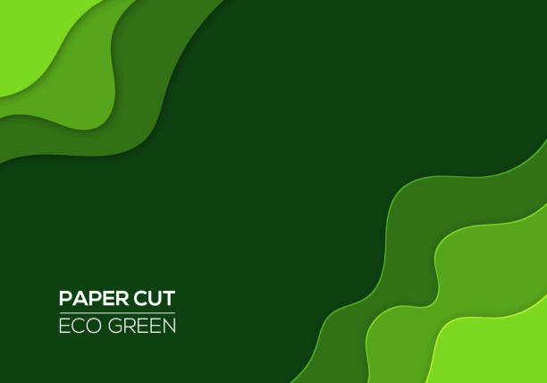 Modern 3d Paper Cut Art Template With Abstract Curve Shapes Green Color Stock Vector More Images Of 998848374