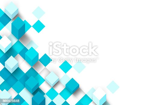 Abstract square pixel 3d background border concept.