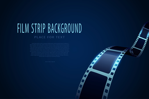 Modern 3d realistic film strip isolated on blue background. Vector cinema festival. Film reel stripe cinema. Movie and film template can be used of backdrop, brochure, leaflet, poster, banner or flyer