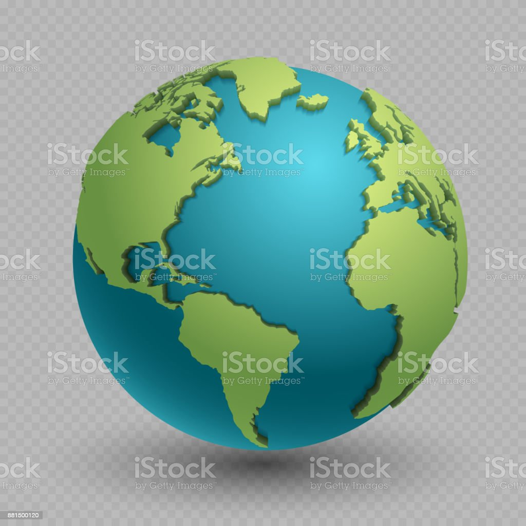 Modern 3d world map concept isolated on transparent background vector art illustration