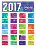 Modern Abstract 2017 Printable Calendar Starts Sunday Geometric Graphic Vector Illustration.
