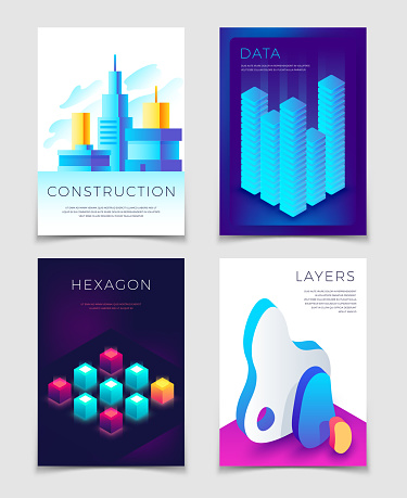Modern abstract 3d geometric backgrounds with futuristic colorful shapes. Big data, architectural design and blockchain vector concept