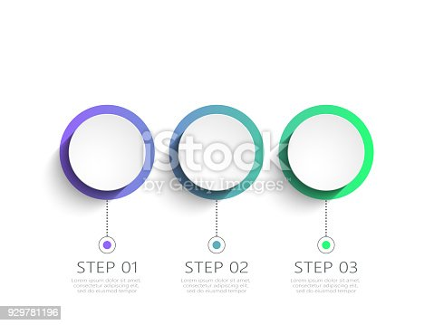 istock Modern abstract 3D infographic template with 3 steps 929781196