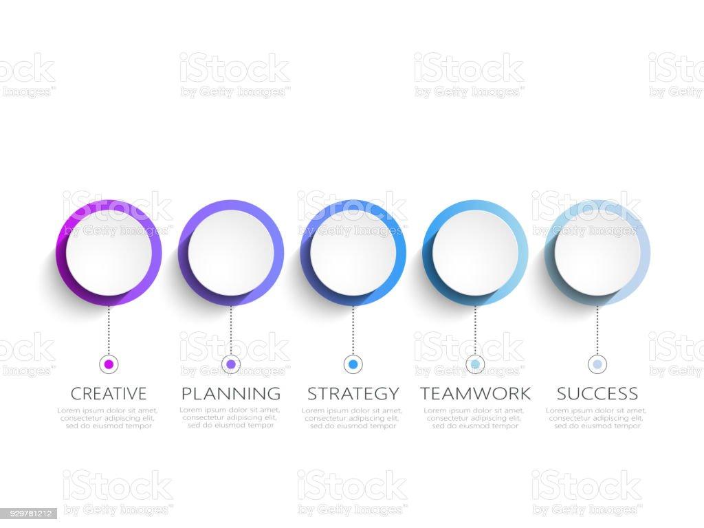 Moderne abstrakte 3D Infografik Vorlage mit fünf Schritte zum Erfolg – Vektorgrafik