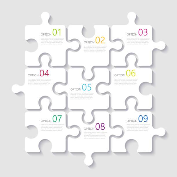 bildbanksillustrationer, clip art samt tecknat material och ikoner med moderna abstrakta 3d pussel infographic mall med nio steg alternativ - puzzle